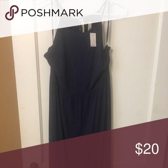 Navy Loft Midi Dress. NWT. Beautiful navy midi dress. Tie back with small opening. LOFT Dresses Midi