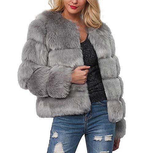 Casual Fashion Womens Ladies Warm Faux Fur Coat Jacket Winter Gradient Color Parka Outerwear Autumn Winter Coat Jacket