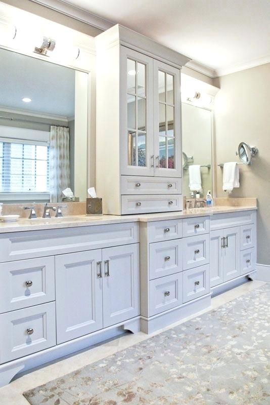 Double Sink Vanity With Middle Tower 2 Sinks Are A Dream Of Ours Dwellings Puritan Ave Gallery Two Do Custom Bathroom Cabinets Classic Bathroom Custom Bathroom
