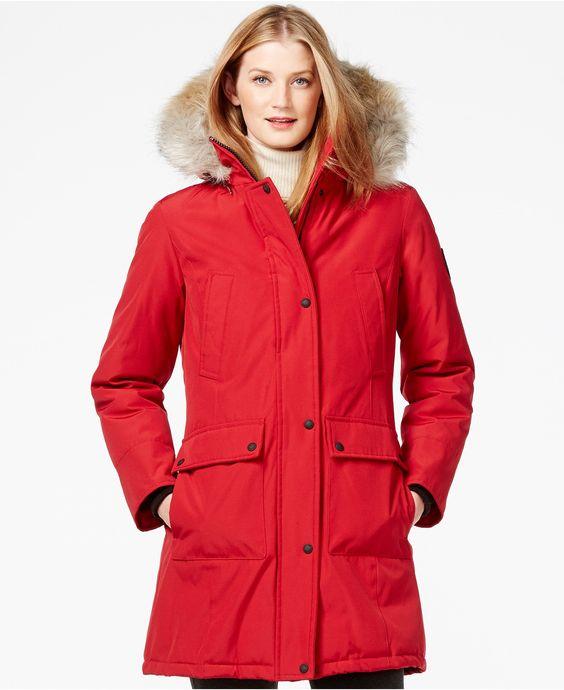 Calvin Klein Faux-Fur-Trim Water-Resistant Parka | Coats Shops