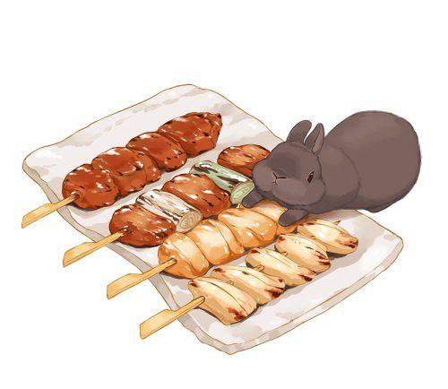 保存した写真 料理のスケッチ 焼き鳥 イラスト 食品の描画