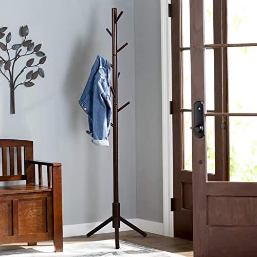 Best Seller Vlush Sturdy Wooden Coat Rack Stand Entryway Hall Tree Coat Tree Solid Base Hat Clothes Purse Scarves Handbags Umbrella 8 Hooks Brown Online In 2020 Wooden Coat Rack Standing Coat Rack Free Standing Coat