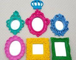 Kit 6 Espelhos Coloridos e Laqueados