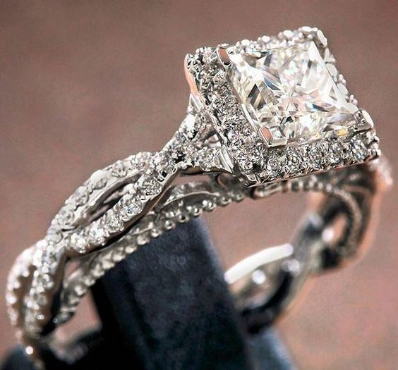Verragio princess cut halo engagement ring in a twisted diamond setting