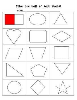 Coloring Shapes: The Fraction 1/2 | Free printables, The o'jays ...