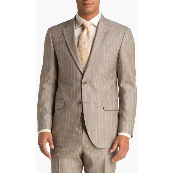 Robert Talbott Tan Stripe Wool Suit found on Polyvore