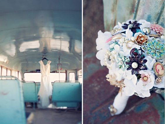 vintage wedding--love the cameo/button bouquet
