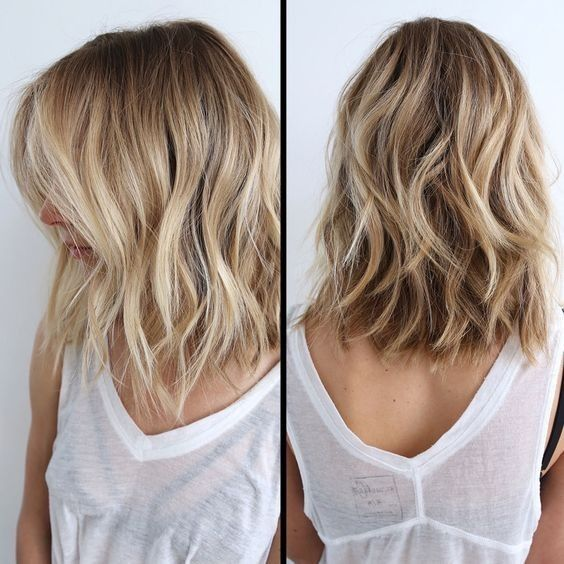 Messy, Wavy Lob Hairstyle , Side, Back View, Balayage Lob Hair Style