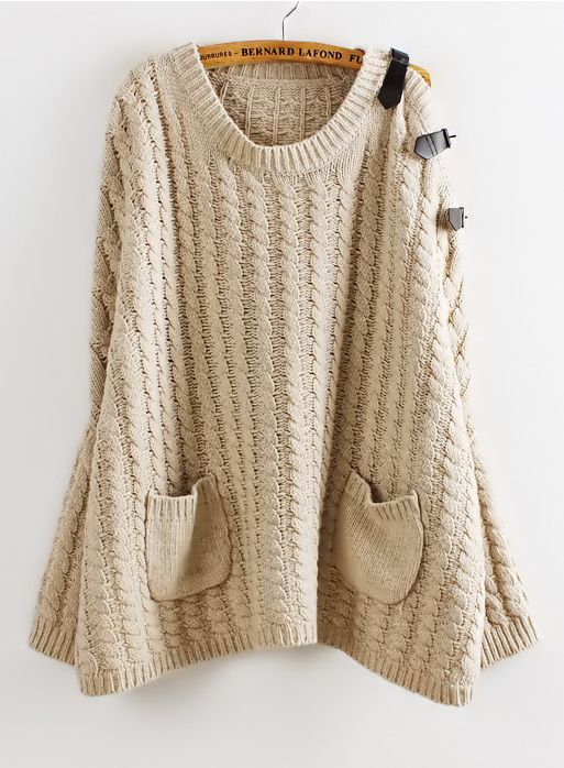 Khaki Batwing Sleeve Leather Pockets Cable Knit Sweater | Style ...