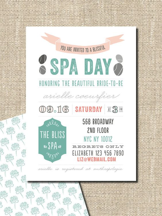 spa party bridal shower birthday invitation by lepoetikstudio. I would much rather do this than ...