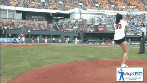 Actress Tosses The Most Amazing First Pitch Ever [GIF]: -- South Korean actress and taekwondo athlete Tae Mi threw the flip pitch before a Doosan Bears baseball game. You have to see it to believe it.