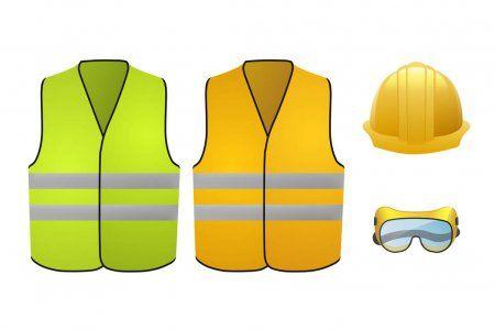 Orange And Green Safety Vests Safety Equipment Glasses And Helmet Vector Illu Ad Vests Safety Safety O Safety Vest Safety Equipment Vintage Icons