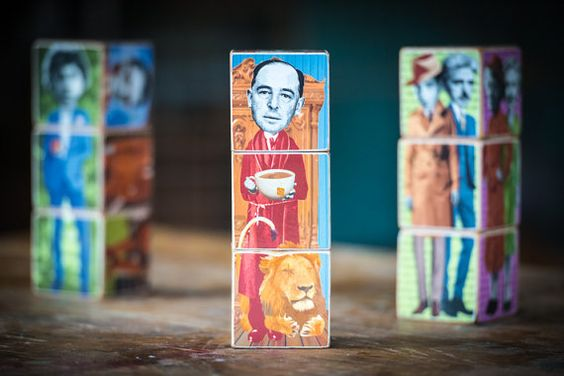 CS LEWIS - on WritersBlocks... Fantasy SciFi edition Wooden by redfoxink on Etsy, $50.00