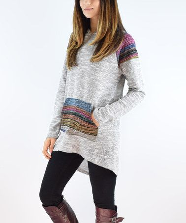 Charcoal Stripe French Terry Hooded Tunic #zulily #zulilyfinds