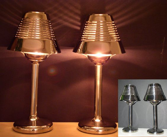 tea light candle holder table lamps art deco style with ribbed shades pottery barn tea light. Black Bedroom Furniture Sets. Home Design Ideas