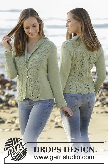 Knitted jacket with lace pattern and shawl collar in DROPS Flora. Size: S - XXXL Free pattern by DROPS Design.:
