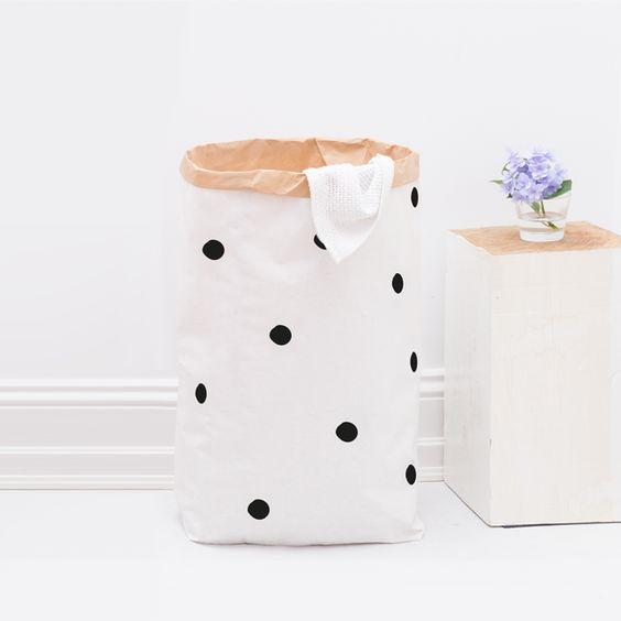 Aufbewahrungsboxen - XXL Papiersack / Schwarze Punkte / DIY - ein Designerstück…