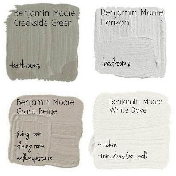 Whole House Color Scheme.  Paint Color for Every Room in the House. Creeside Green Benjamin Moore (Bathrooms). Horizon Benjamin Moore (Bedrooms). Grant Beige Benjamin Moore (Living Room, Dining Room). White Dove Benjamin Moore (Kitchen Cabinet, Trim and Doors) #BenjaminMoorePaintColors