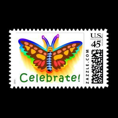 Celebrate Good Times http://www.zazzle.com/celebrate_rainbow_butterfly_postage-172556425809615780?rf=238035929906229989