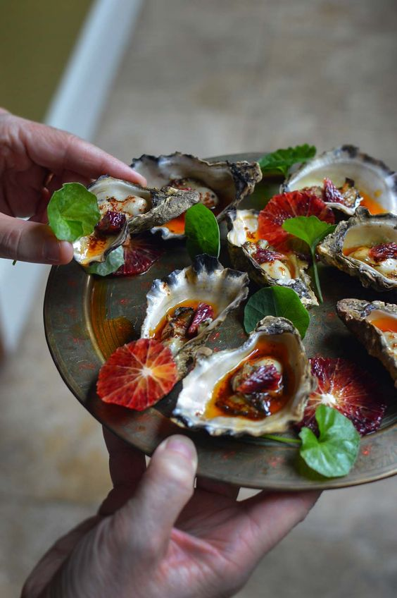 Smoked oysters with paprika & blood orange   heneedsfood.com