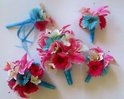 Aqua Blue And Fuschia Bridal Bouquets