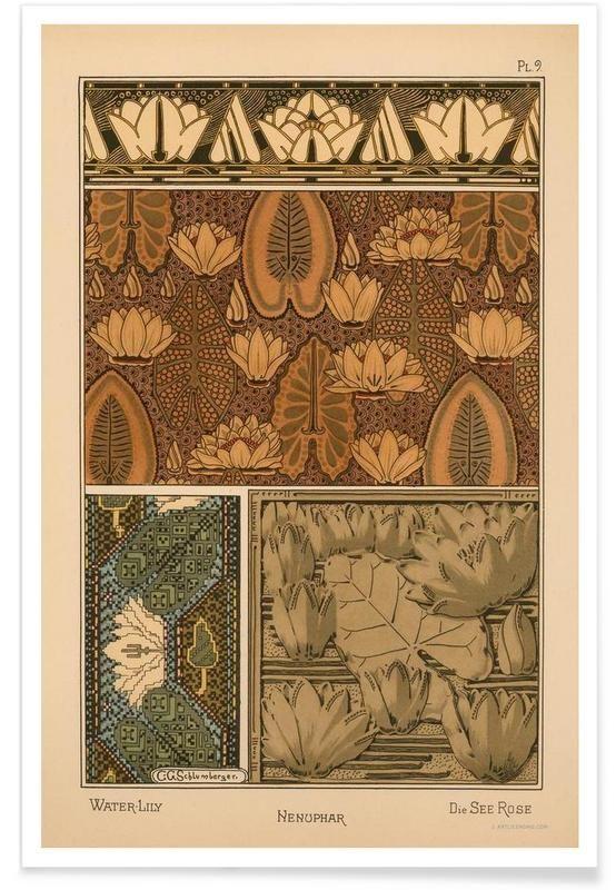 Eugene Grasset - Water-Lily 09 en Affiche premium par Vintage Art Archive | JUNIQE: