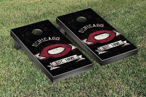 University of Chicago Maroons Rustic Established Banner Cornhole Game