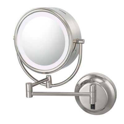 Kimball Young Neo Modern 1x 5x Cool Light Led Makeup Mirror In Polished Nickel Makeup Mirror With Lights Magnifying Mirror Lighted Wall Mirror