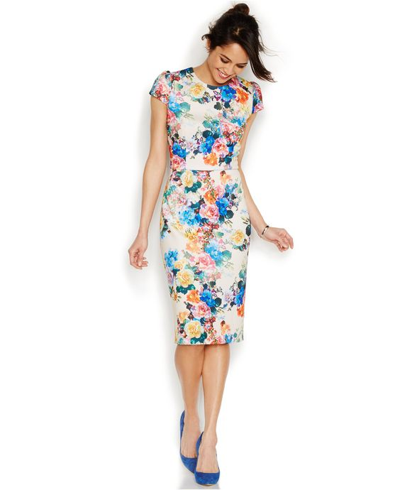 Betsey Johnson Rose-Print Midi Scuba Sheath - Dresses - Women ...