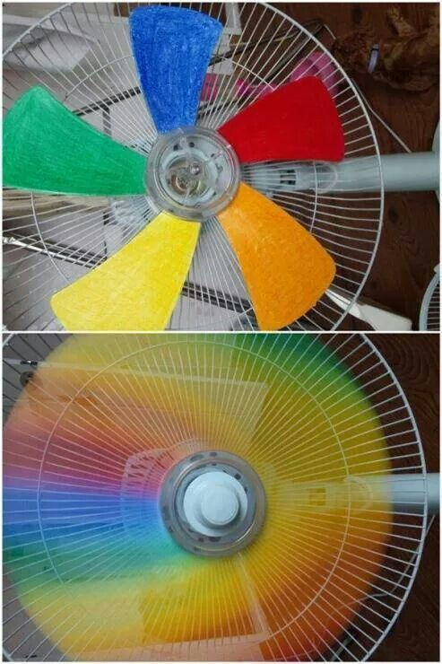 Paint the blades on your fan, let dry and watch your spinning rainbow