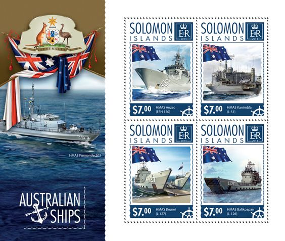 Post stamp Solomon Islands SLM 14601 aAustralian ships (HMAS Anzac (FFH 150), {…}, HMAS Balikpapan (L 126))