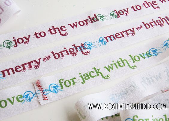 Make your own printed twill ribbon to wrap your holiday gifts (free printables!)