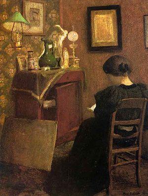 Mujer leyendo Mujer leyendo es una pintura de Henri Matisse realizada en 1894. Dos años después el estado francés lo compraría para el castillo de Rambouillet. Forma parte de la colección del Museo de Arte Moderno de París. Wikipedia Artista: Henri Matisse Fecha de creación: 1894 Género: Escena de género