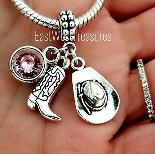 Made On Terra Cowgirl Hat and Boots Country Dangling Bracelet Pendant Charm