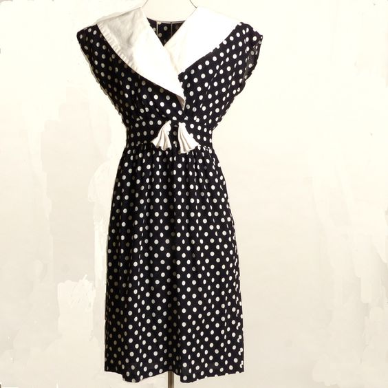 Circa 1980s Black and White Polka Dot Dress. Click to see more photos and to get purchasing information.