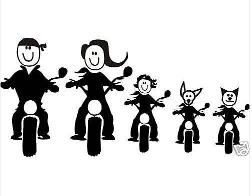 Too Cute! Motorcycle Family Stick FIgures For Car Window! | clip ...