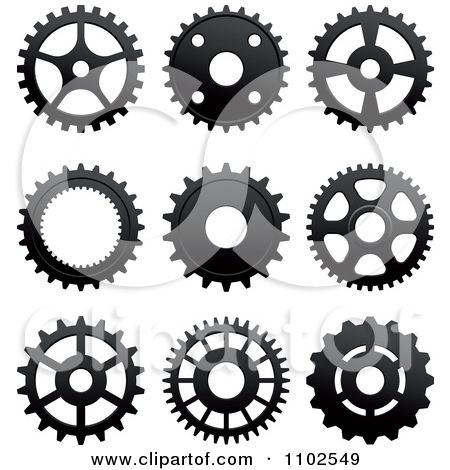 Clipart Black And White Gear Cog Wheels - Royalty Free Vector Illustration by Seamartini Graphics