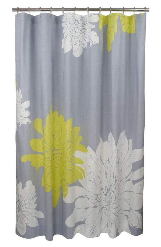 Cute grey and yellow shower curtain home base for Yellow bathroom decor pinterest