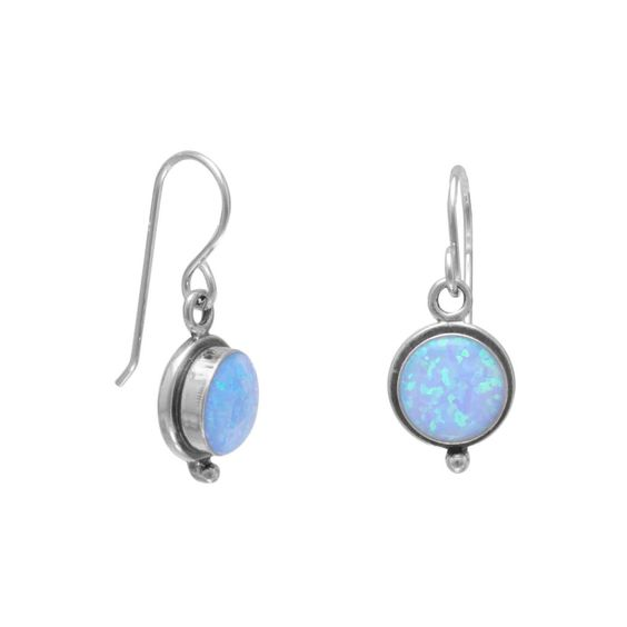Sterling Silver Blue Opal Earrings