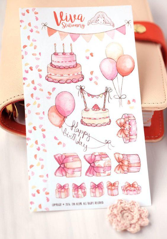 Cute decorative birthday sticker sheet personal size planner by Viva Stationery ~~ Pegatinas Decorativas Cumpleaños Tamaño Agenda por VivaStationery