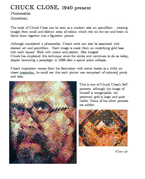 chuck close artist fact sheet blue sparrrows art club art lessons pointillisme pinterest. Black Bedroom Furniture Sets. Home Design Ideas