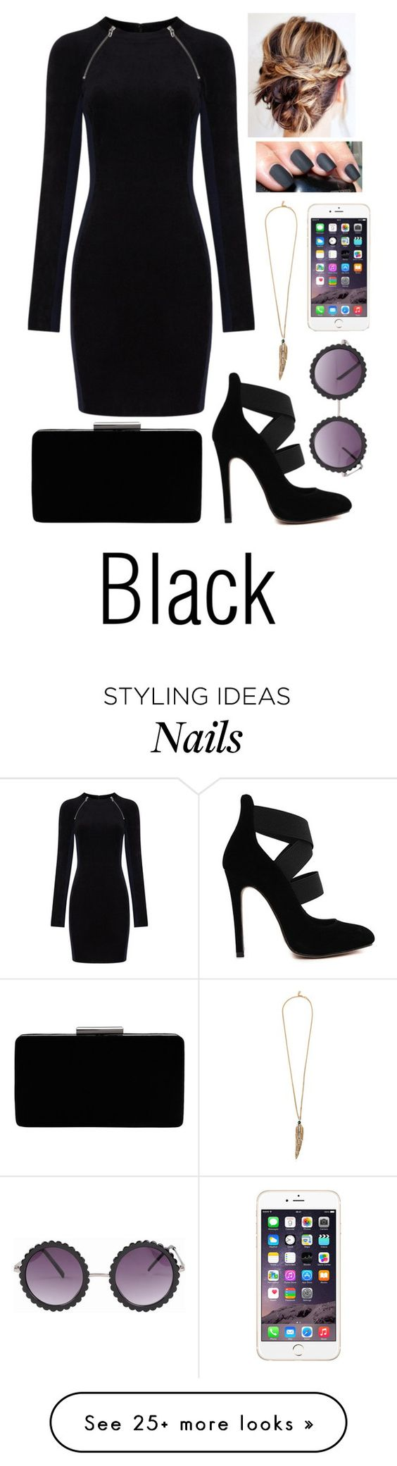 """Black"" by missingpearl on Polyvore featuring T By Alexander Wang, John Lewis and Roberto Cavalli:"