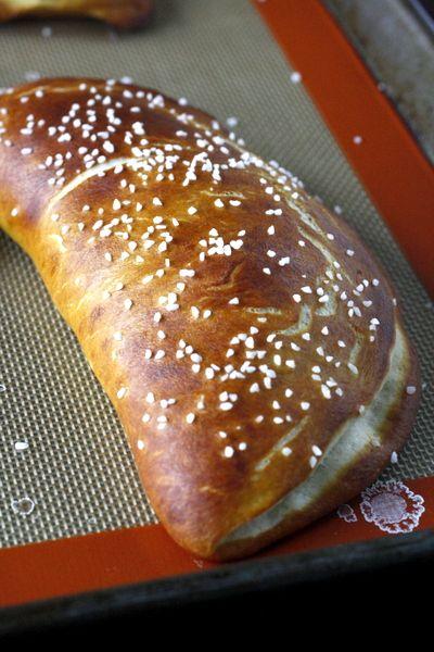 Ham and Cheddar Stuffed Pretzel Calzones: