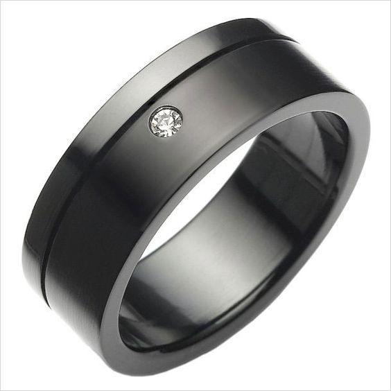 Beautiful 316L Black Stainless Steel Mens Ring CZ Wedding Band 8mm | RnBJewellery