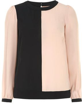 Nude colour block blouse on shopstyle.com