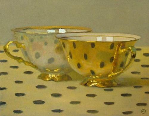 Olga Antonova  Two Golden Cups on Polka Dots  21st century: