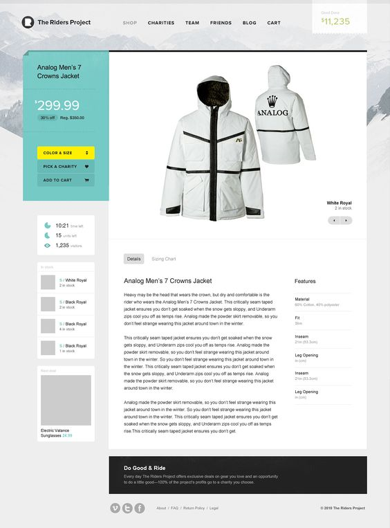 The Riders Project - love this ecommerce experience
