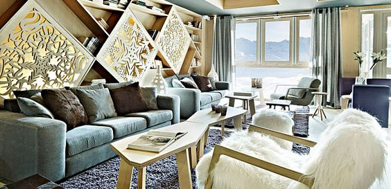 This is the Altapura, Route du Soleil, in Val Thorens, France, which is the highest Alps ski resort - wonderfully stylish post-modern alpine lodge interiors.