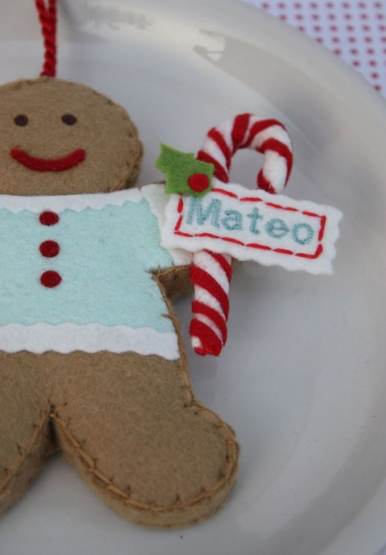 felt gingerbread cookie christmas holiday ornament with candy cane