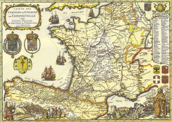 u0026quot carte des chemins de saint jacques de compostelle  1648  camino franc u00e9s de santiago de